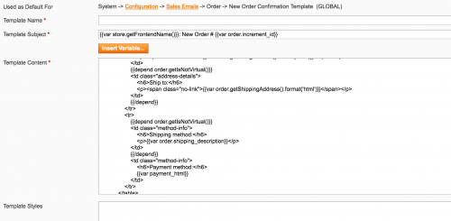 Add Variables to the Magento Emails