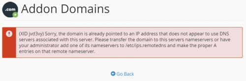 Fixing Addon Domain error