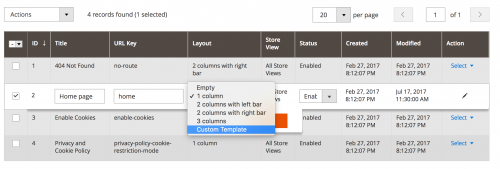 Custom Page Templates in Magento 2